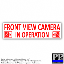 1 x Front View Camera In Operation Stickers-RED/WHITE-CCTV Signs-Van,Taxi,Car,Cab